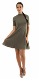 Olive Green Mock Neck Ribbed A Line Mini Dress