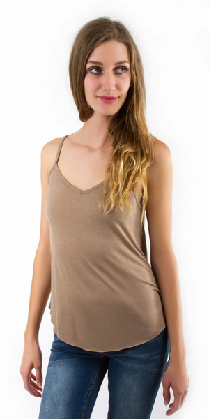 Beige Loose Fit V Neck Tank Top