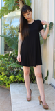 Black Short Sleeve Swing T Shirt Dress