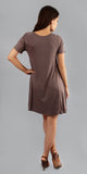 Brown Short Sleeve Swing T Shirt Dress