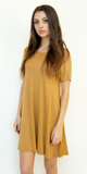 Mustard Yellow Short Sleeve Swing T Shirt Dress