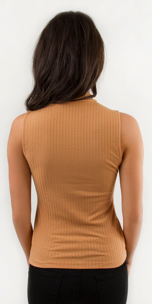Nude Sleeveless Ribbed Knit Top