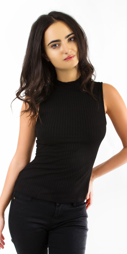 Black Sleeveless Ribbed Knit Top