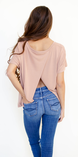 Apricot Nude Split Open Back T Shirt