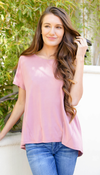 Clay Pink Split Open Back T Shirt