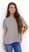Beige Split Open Back T Shirt