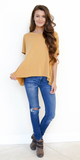 Mustard Yellow Split Open Back T Shirt