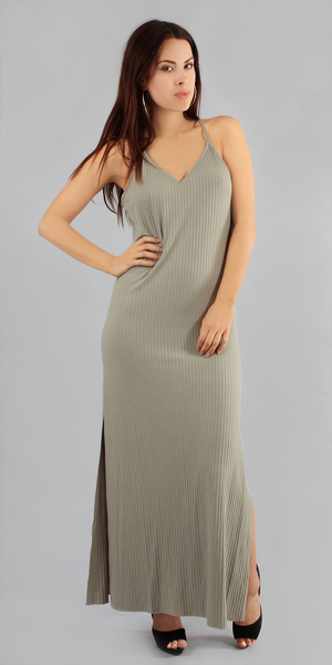 Ribbed Spaghetti Strap Tank Maxi-Dress