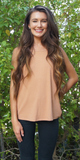 Peach Wide Ribbed Racer Back Tank Top