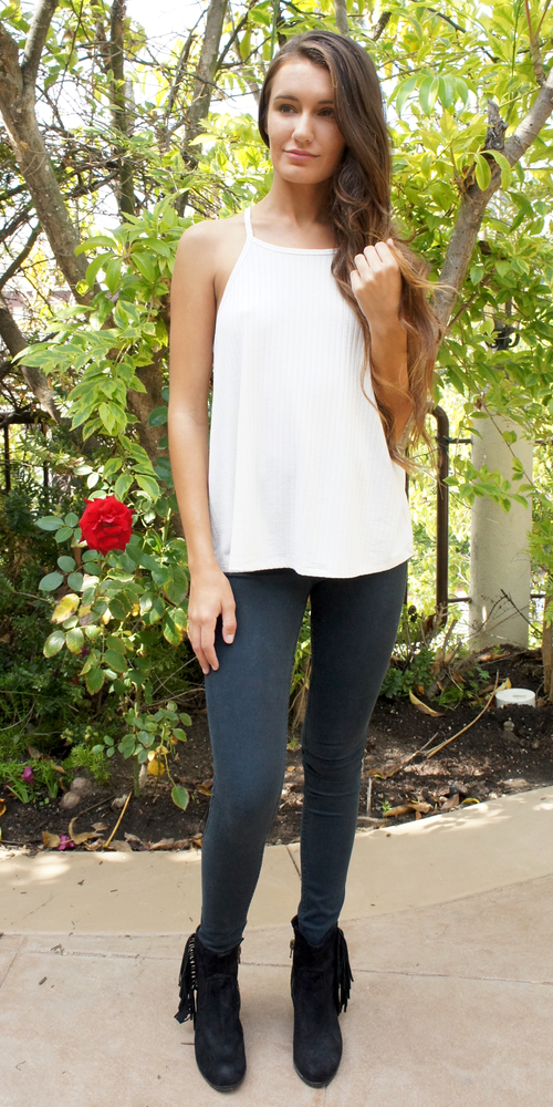 Ivory White Wide Ribbed Racer Back Tank Top