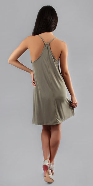 Smoke Green Spaghetti Strap Sun Dress