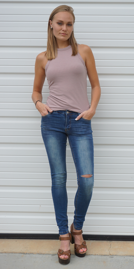 Taupe Pink High Neck Ribbed Tank Top