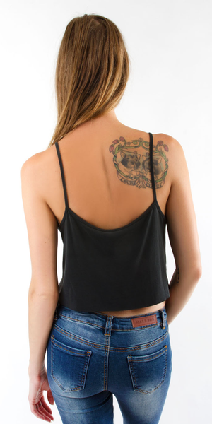 Black Sand-Washed Jersey Crop Tank Top