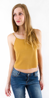 Mustard Yellow Sand-Washed Jersey Crop Tank Top
