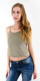 Light Green Sand-Washed Jersey Crop Tank Top