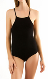 Black Square Neck Tank Bodysuit