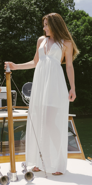 White Strappy Chiffon Maxi Dress