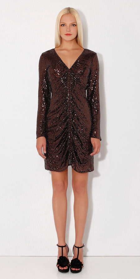 Silver Long Sleeve Wrap Sequin Dress