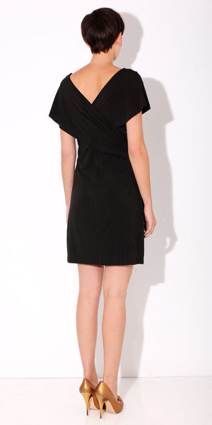 Black Wrapped Jersey Dress