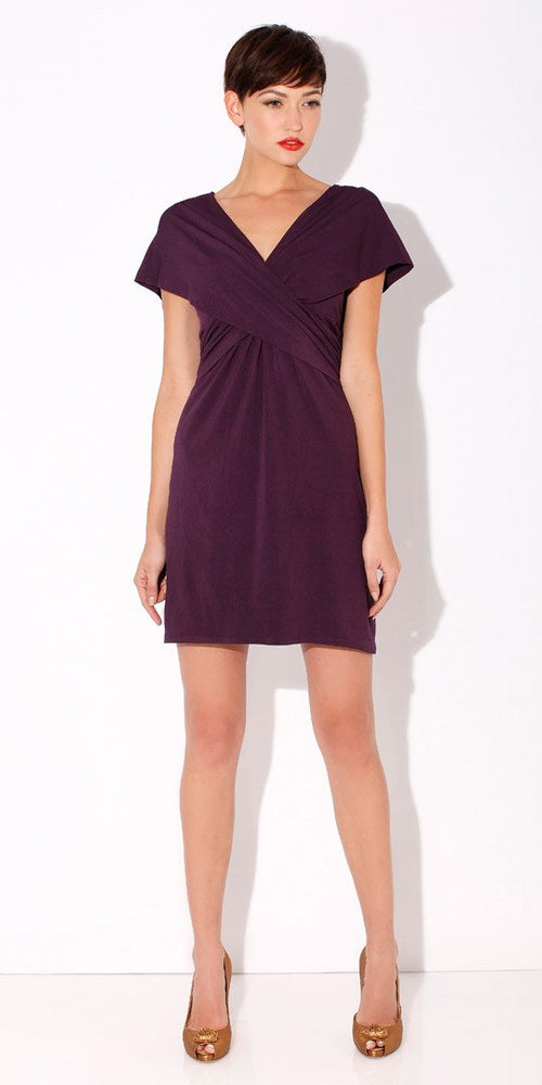 Purple Wrapped Jersey Dress
