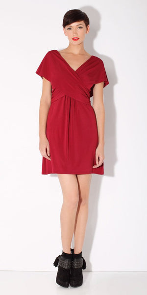 Red Wrapped Jersey Dress
