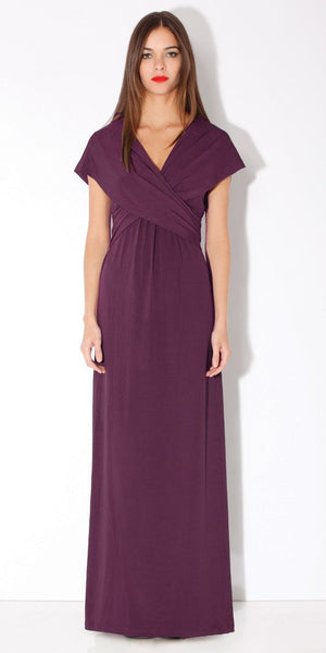 Purple Draped Wrap Maxi Dress