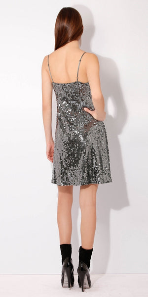 Silver Cami Sequin Dress