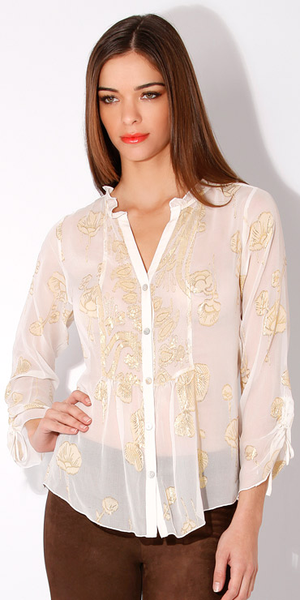 Ivory Poppy Floral Silk Blouse