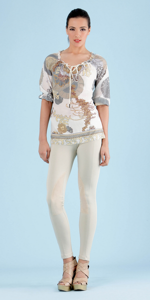 Ivory Floral Print Silk Cotton Top