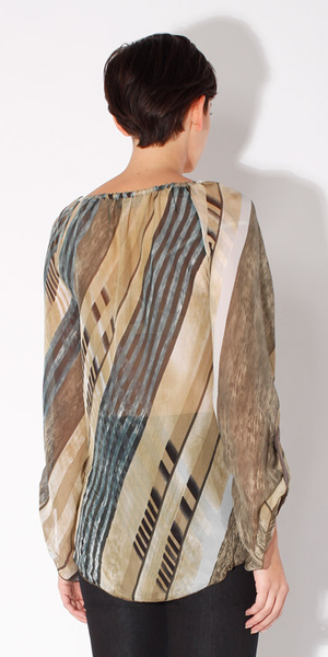 Stripe Plaid Beaded Sheer Silk Blouse