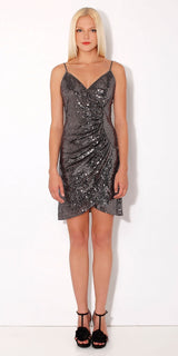 Wrapped Silver Cami Sequin Dress