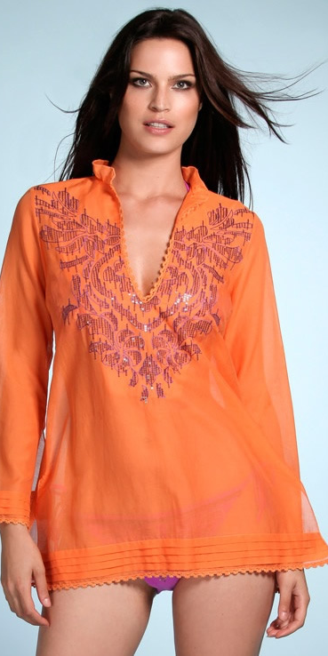 Tangerine Orange Cotton Swimsuit Cover-up