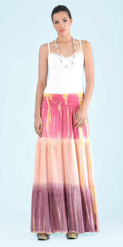 Coral Pink Tie Dye Maxi Skirt