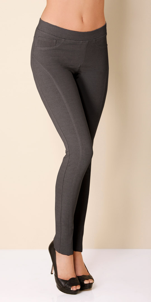 Dark Grey Basic Stretch Ponte Leggings