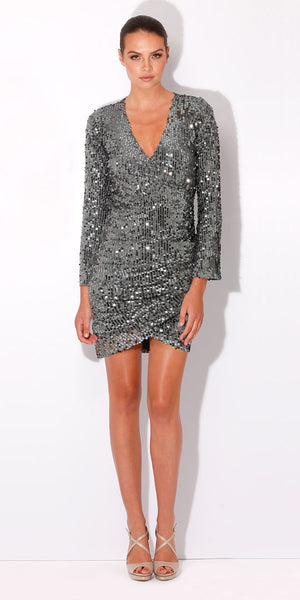 Silver Wrap Sequin Dress