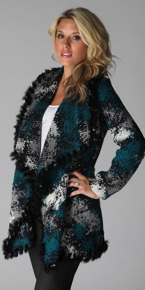Teal Rabbit Fur Trim Wool Sweater Coat