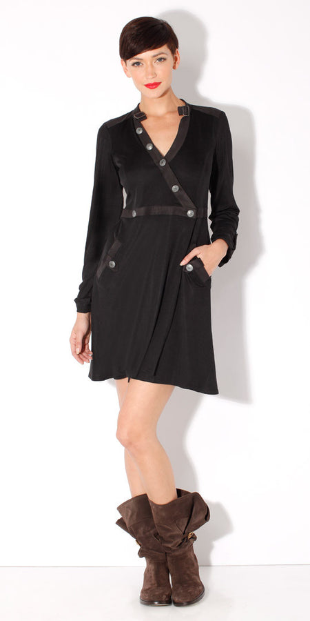 Black Fitted Jersey Knit Dress