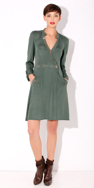 Jade Green Silk Wrap Dress