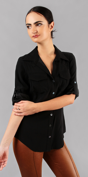 Black Washed Silk Button Down Shirt