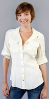 Ivory Washed Silk Button Down Shirt