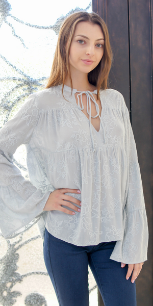 Pale Blue Green Embroidered Bell Sleeve Boho Top