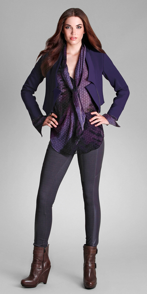 Purple Ponte Bolero Cropped Jacket