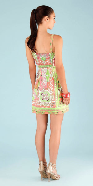 Coral Pink Printed Cotton Sundress