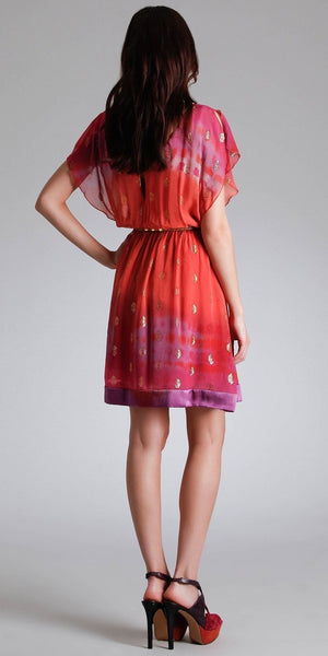 Lurex & Silk Chiffon Dress