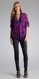 Purple Velvet Burnout Silk Chiffon Top