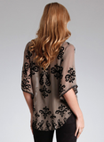 Taupe Velvet Burnout Silk Chiffon Top