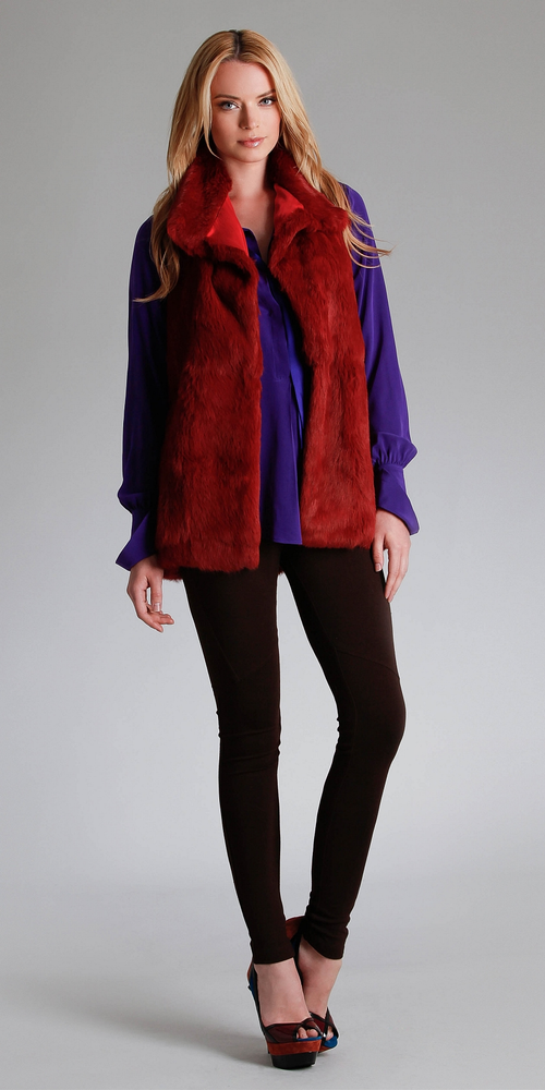 Red Rabbit Fur Vest