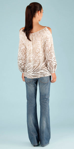 Ivory Long Sleeve Animal Print Tunic