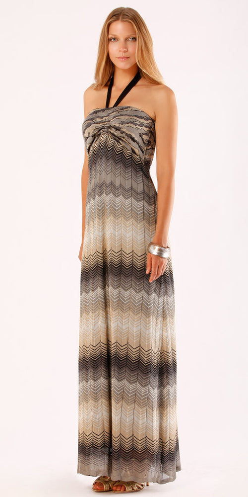Zig Zag Jacquard Knit Maxi Dress