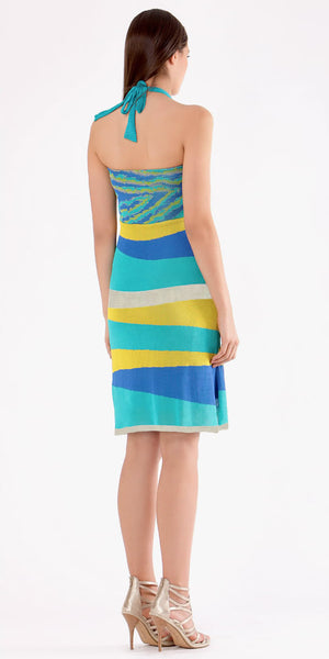 Blue Striped Halter Sundress